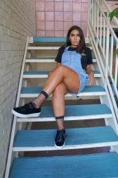 Socks: Urban Outfitters Shoes: Steve Madden Overall Dress: Forever 21 Top: Zara