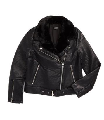Topshop Vardy Faux Leather Biker Jacket