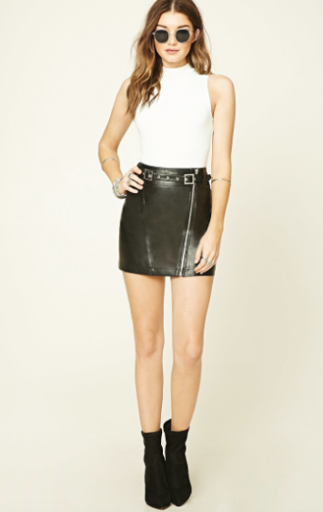 Forever 21 Belted Faux Leather Mini Skirt