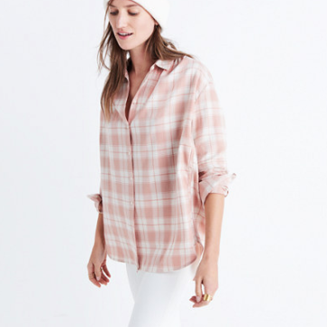 Flannel Madewell central long-sleeve shirt in danville plaid