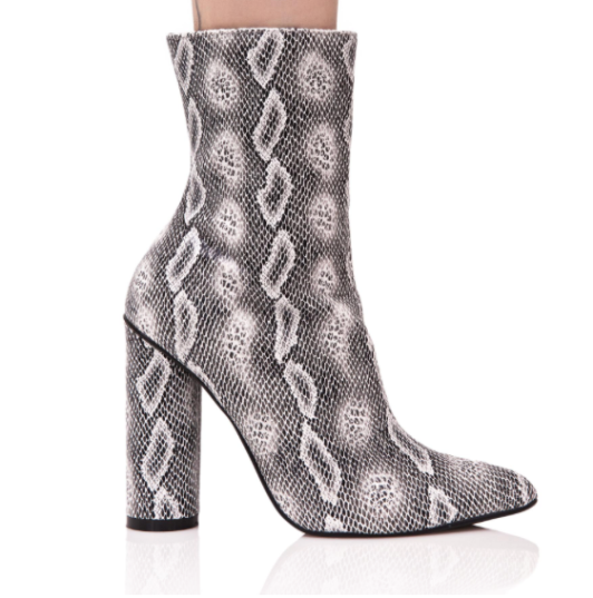 Dolls Kill Snake Print Booties